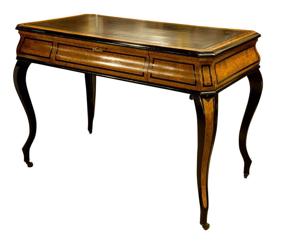 French Amboyna & Ebony Writing Table