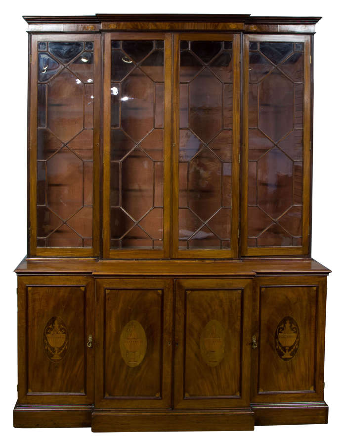 Edwardian Breakfront Bookcase with inlay