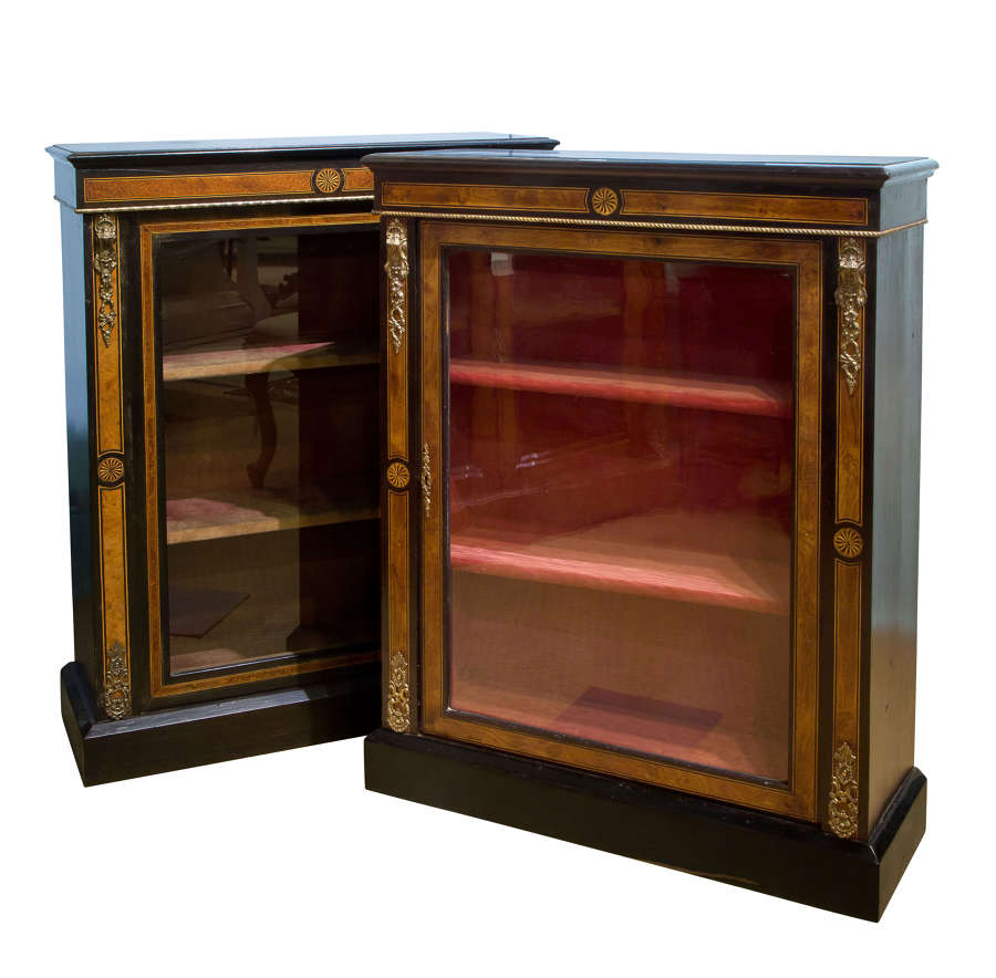 Pair of Ebonised and Walnut Pier Cabinets 19thc