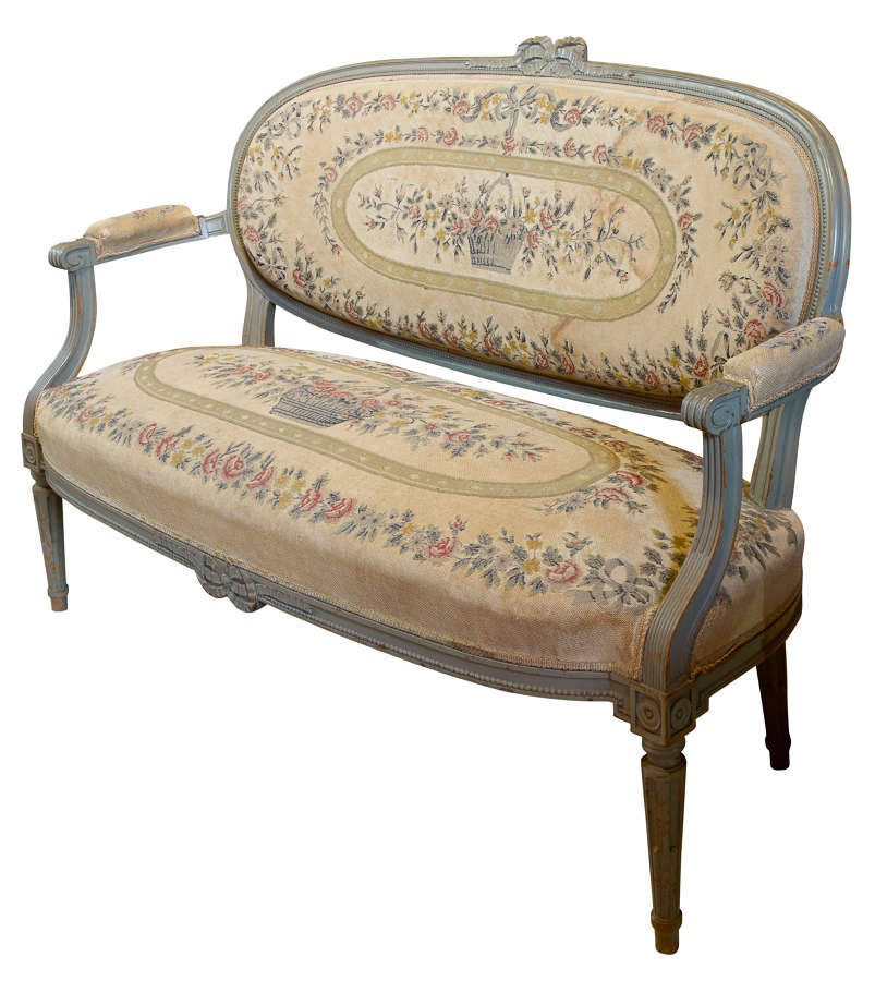 French Painted Louis XVI Style Sofa