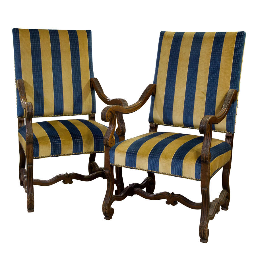 Pair of French Louis XIV style oak chairs