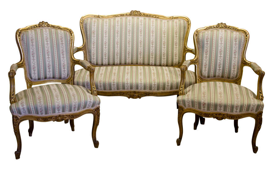 Carved & Giltwood 3 Piece Suite c1890
