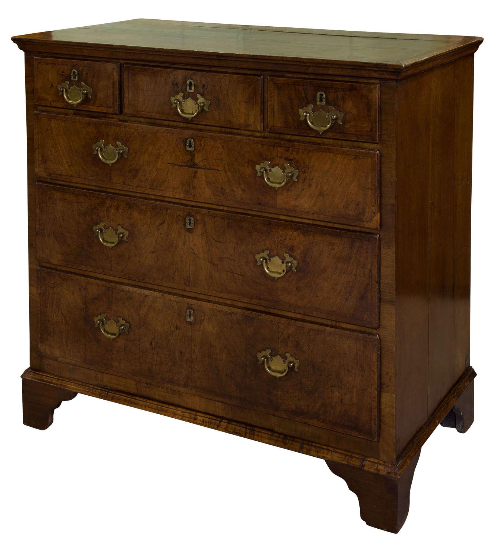 19thc Oak & Walnut Chest of Drawers