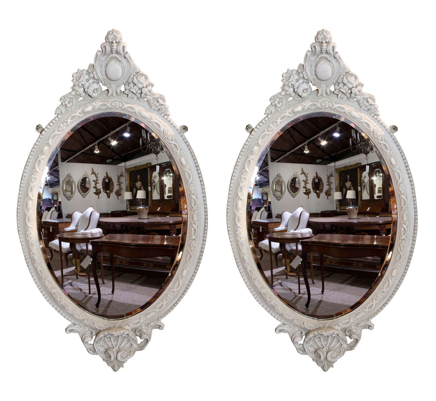 Pair of 19thc Oval Wall Mirrors