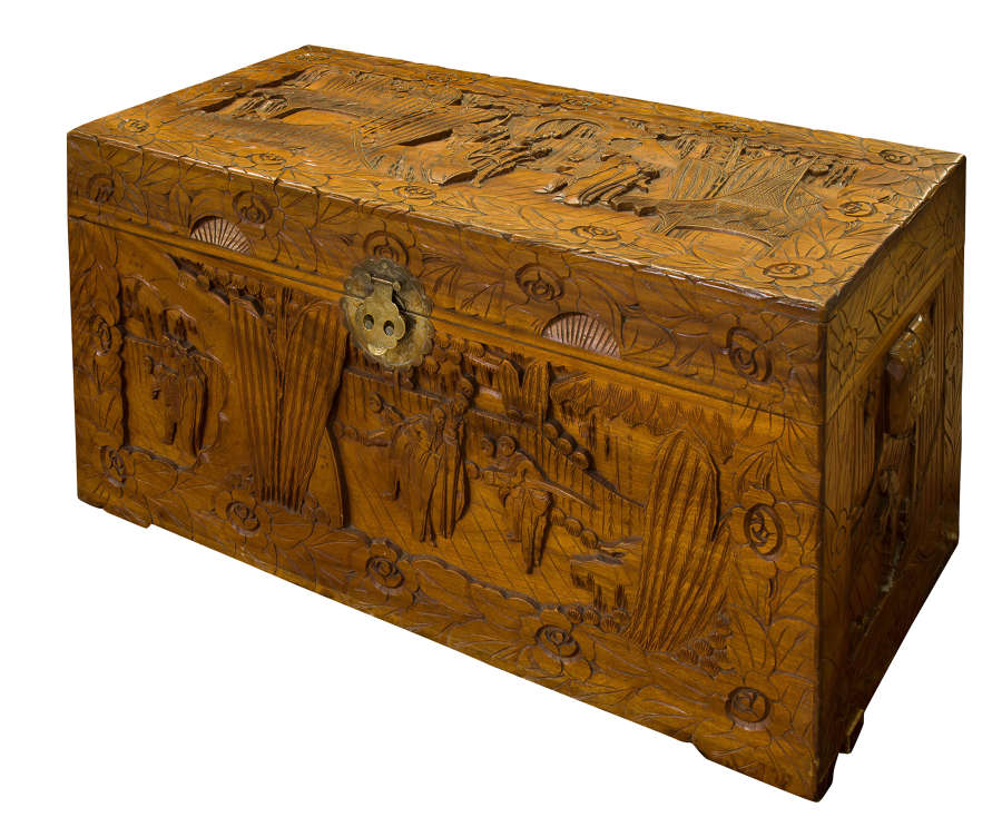 Carved Chinese Camphorwood Chest c1920