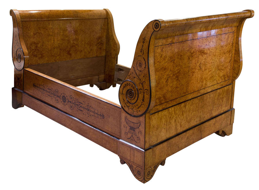 Charles X French Blondewood Sleigh Bed