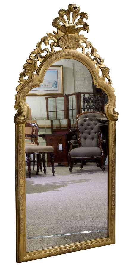 Gilded continental arched top mirror c1800