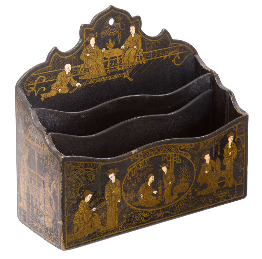 Chinoiserie Lacquered Letter Rack 19thc