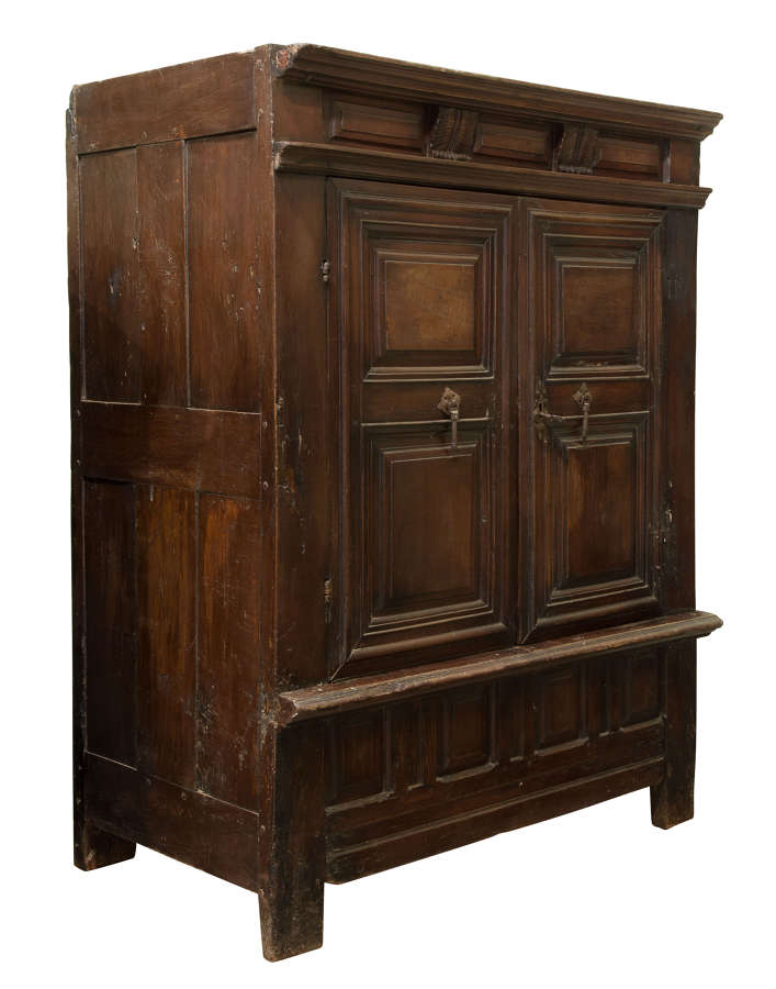 17thc French Oak Panelled Armoire