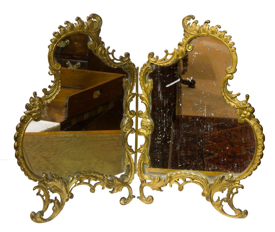 French Gilt Bronze Rococo style table mirror