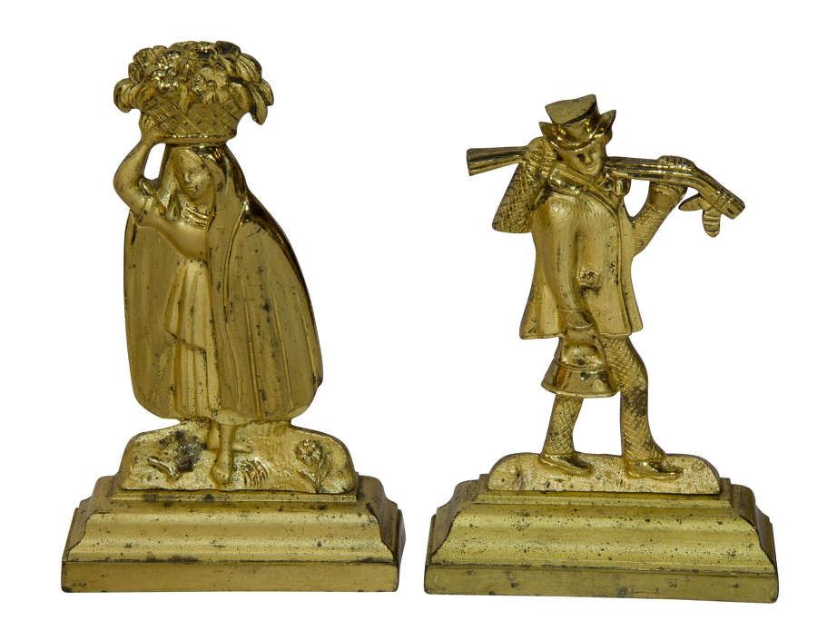 Charming Pair of French Gilt Bronze Figurines of Flower and Sportsman
