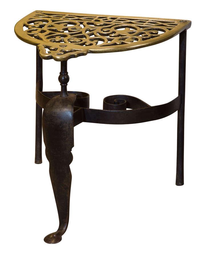 19thc Cast Brass & Wrought Iron Fireside Trivet