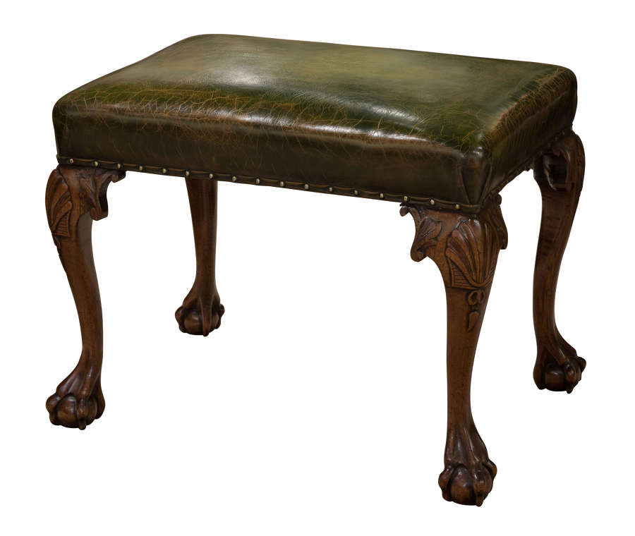 19th Mahogany Leather Topped Stool c1850