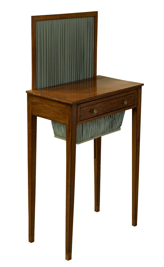 Satinwood Work Table with Fire Screen early 19thC