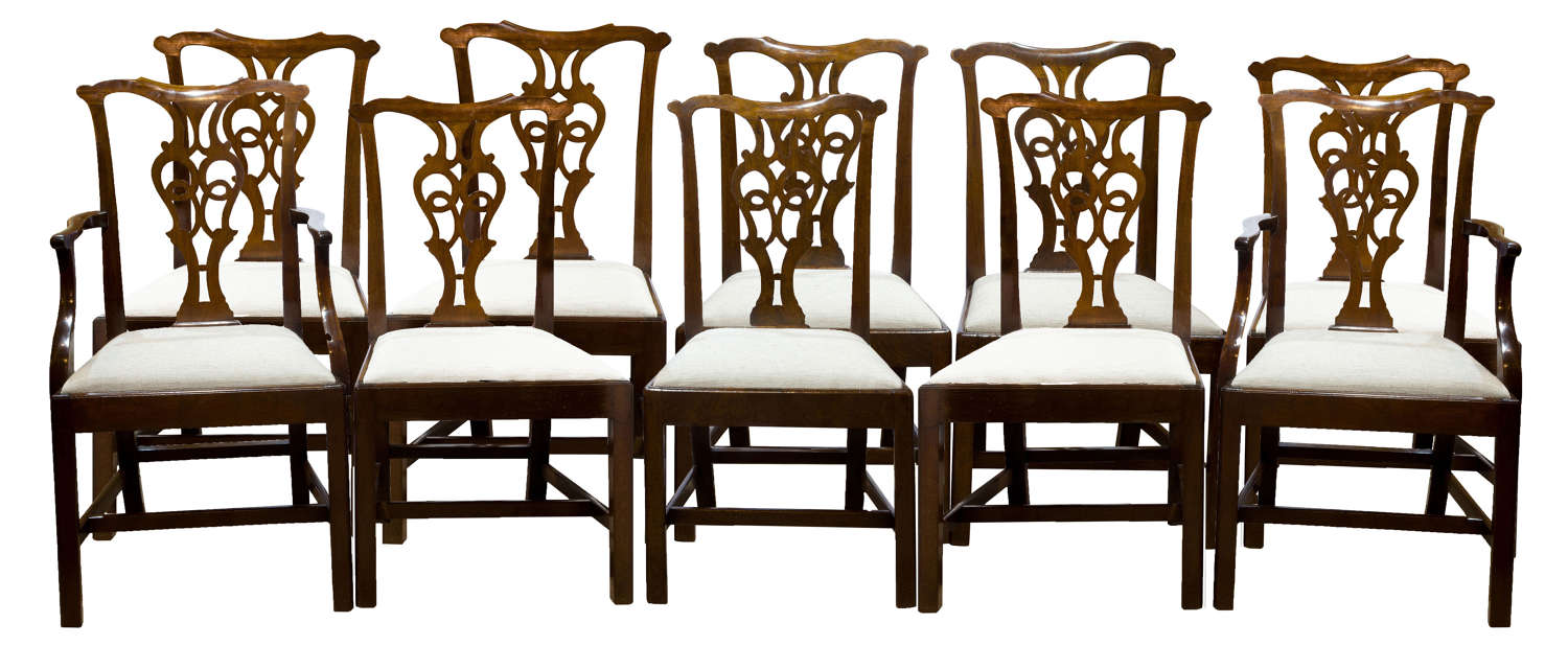 Set of Chippendale Style Mahogany Chairs (x10)