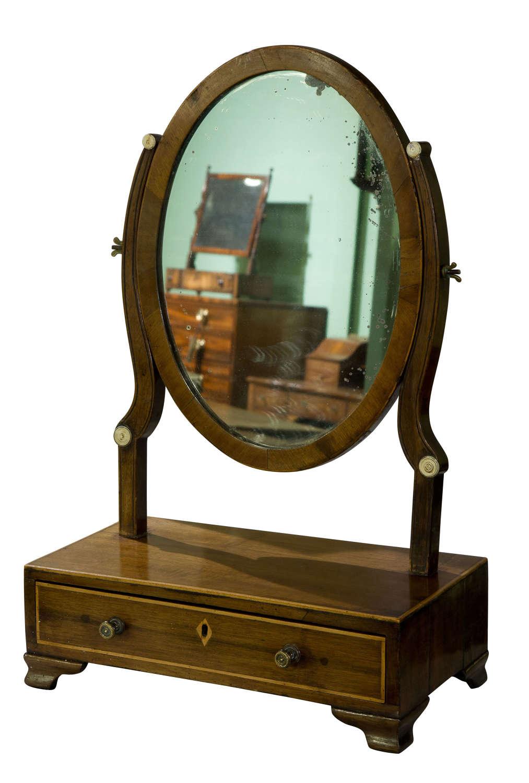 19th Century Mahogany oval dressing table mirror