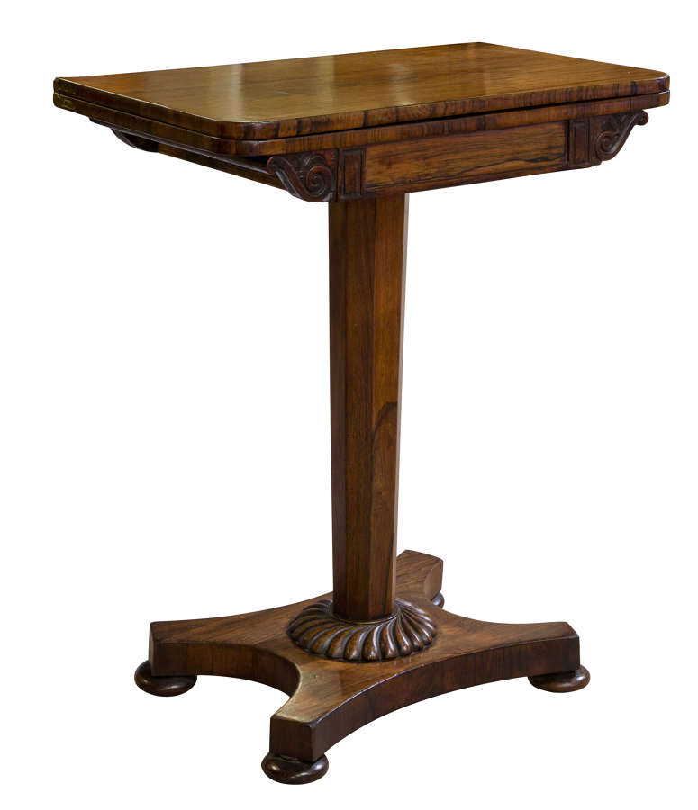 A small rosewood card table c1840
