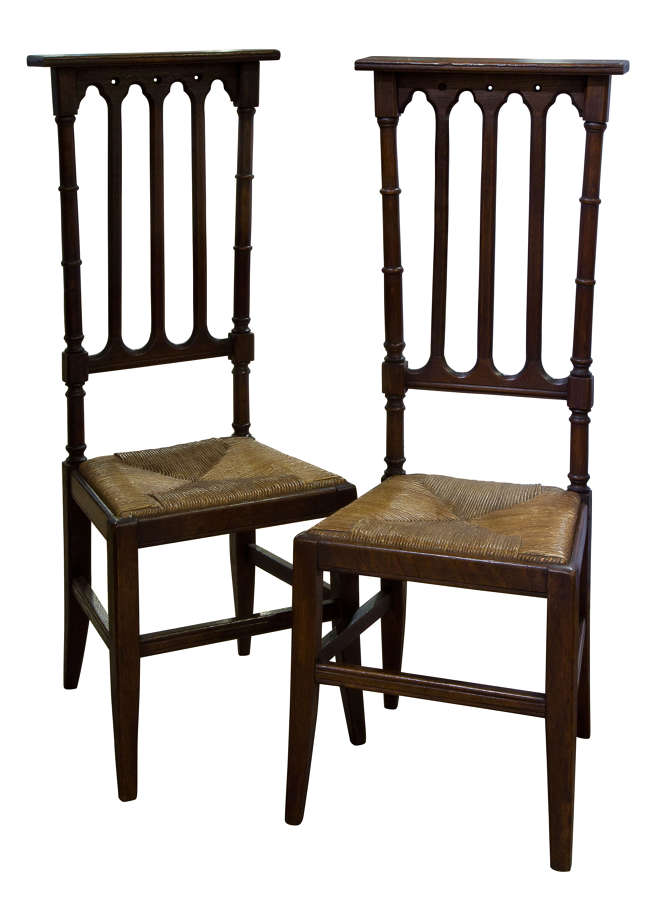 Pair of 19thc Gothic Oak Chapel Chairs