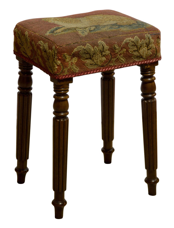 Regency Mahogany Stool with Needlework of Spaniel on a cushion