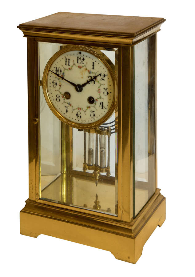 A Late 19th Century 4 Glass Cased 8 Day Mantel Clock