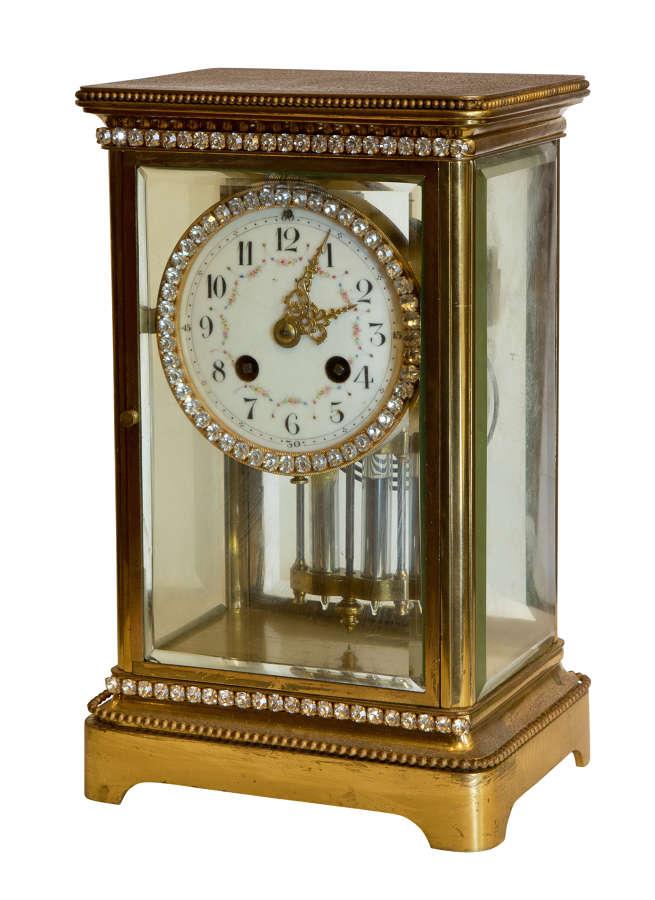 A Brass Cased 4 Glass Mantel Clock