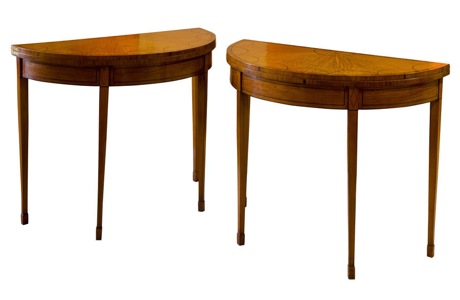 A Pair of Geo III style Satinwood Card Tables