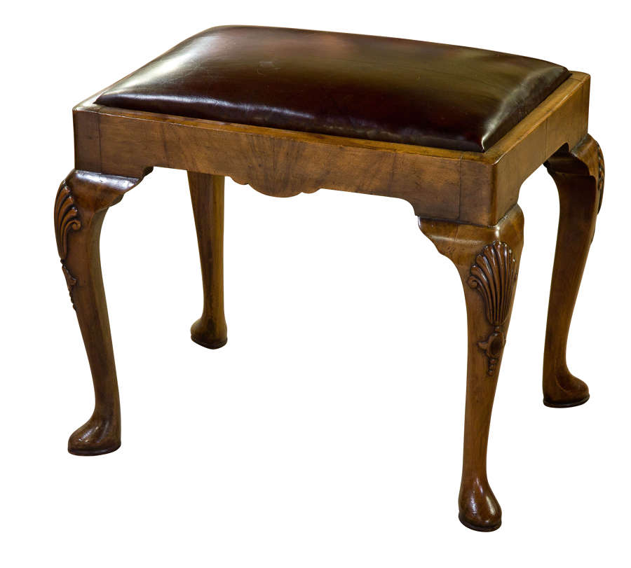 Queen Anne Style Walnut Stool with Burgundy Leather Seat