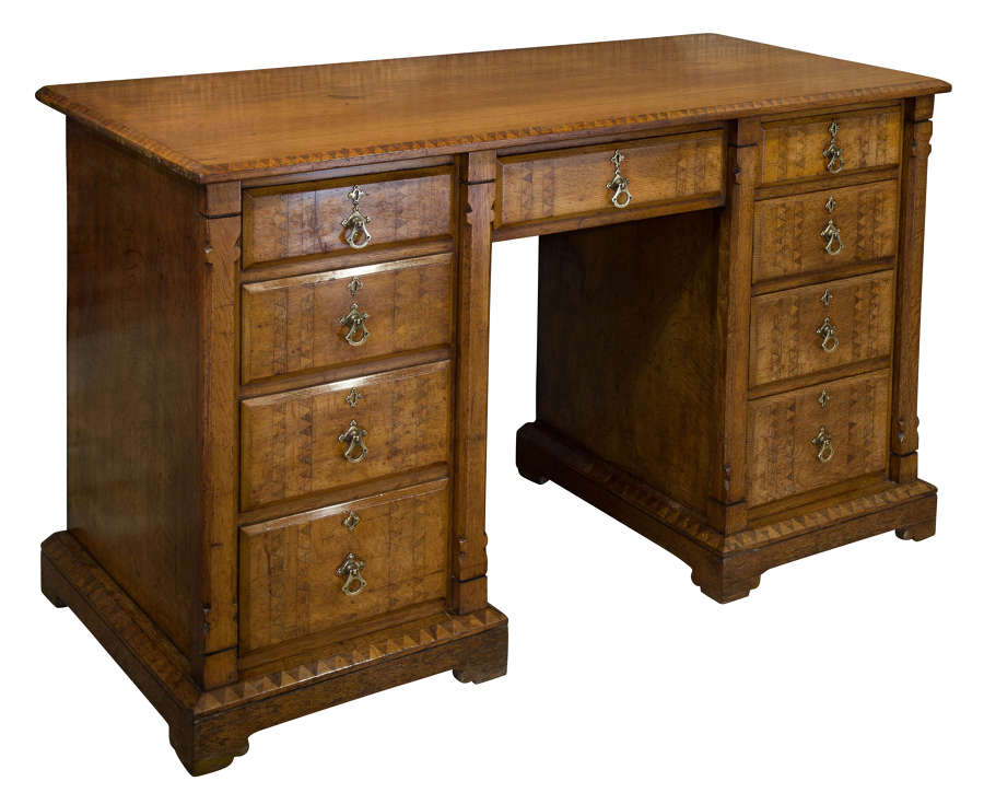 Light Oak Pedestal Desk