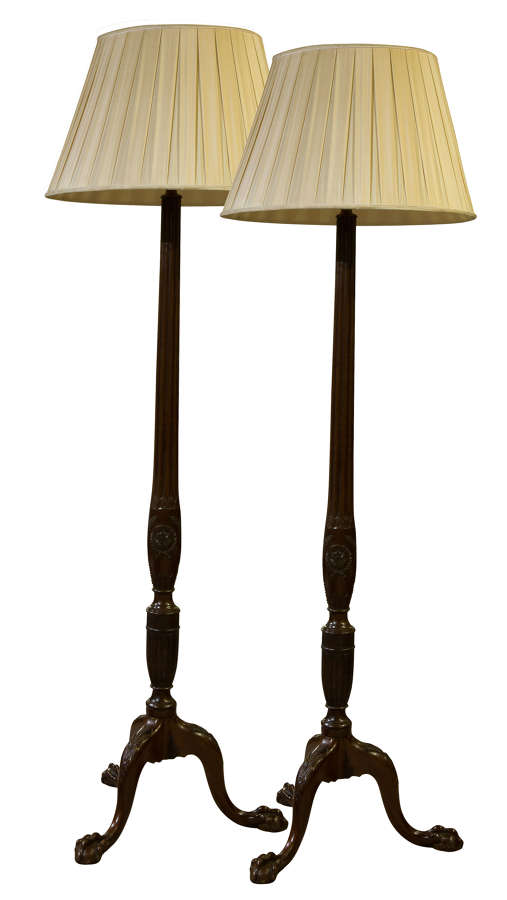 A Pair of Mahogany Early 20th Century Standard Lamps