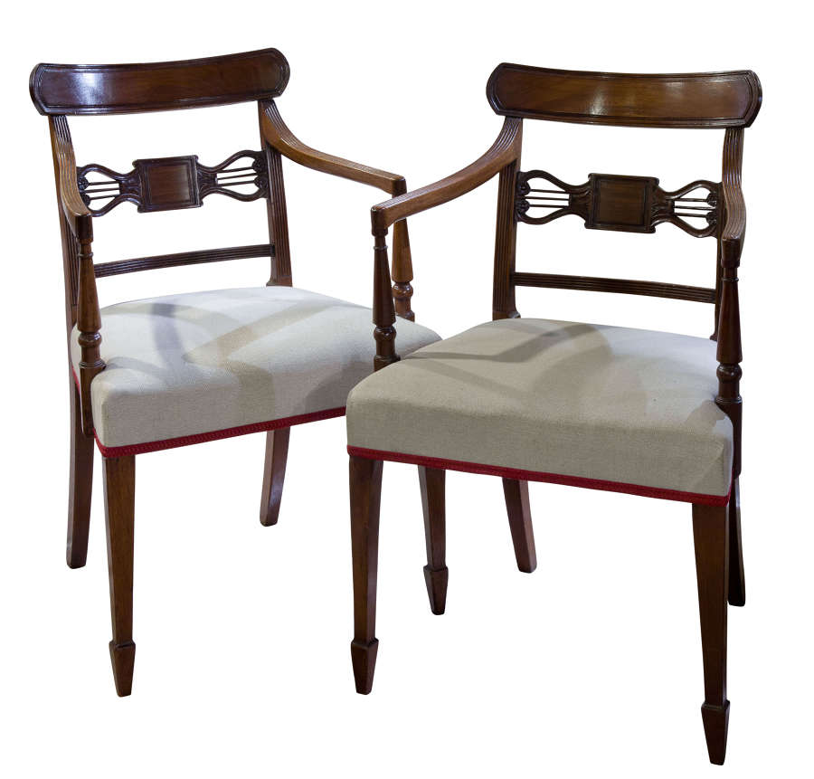 A Pair of Geo III Mahogany Elbow Chairs