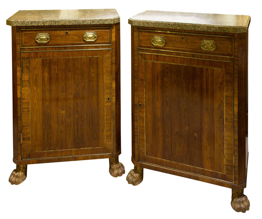 Pair of Regency Marble Topped Side Cabinets