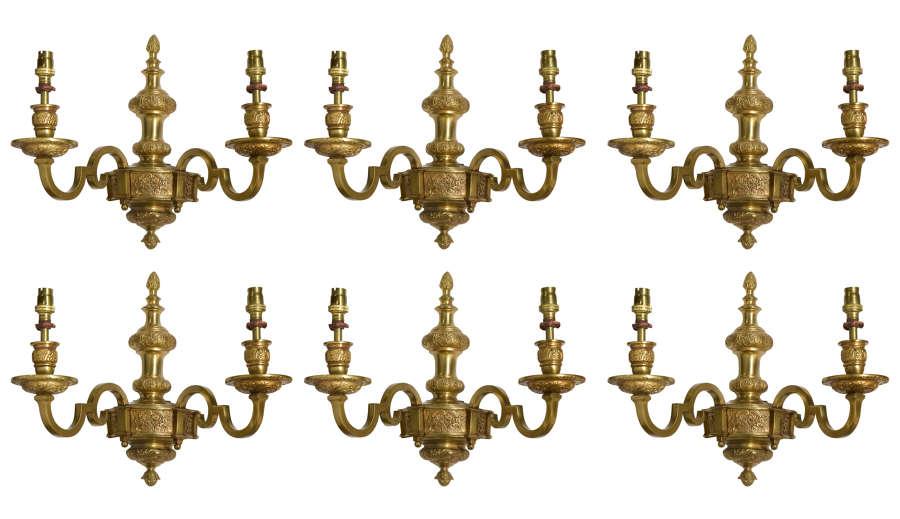 Set of 6 Gilt Metal Twin Branch Wall Lights