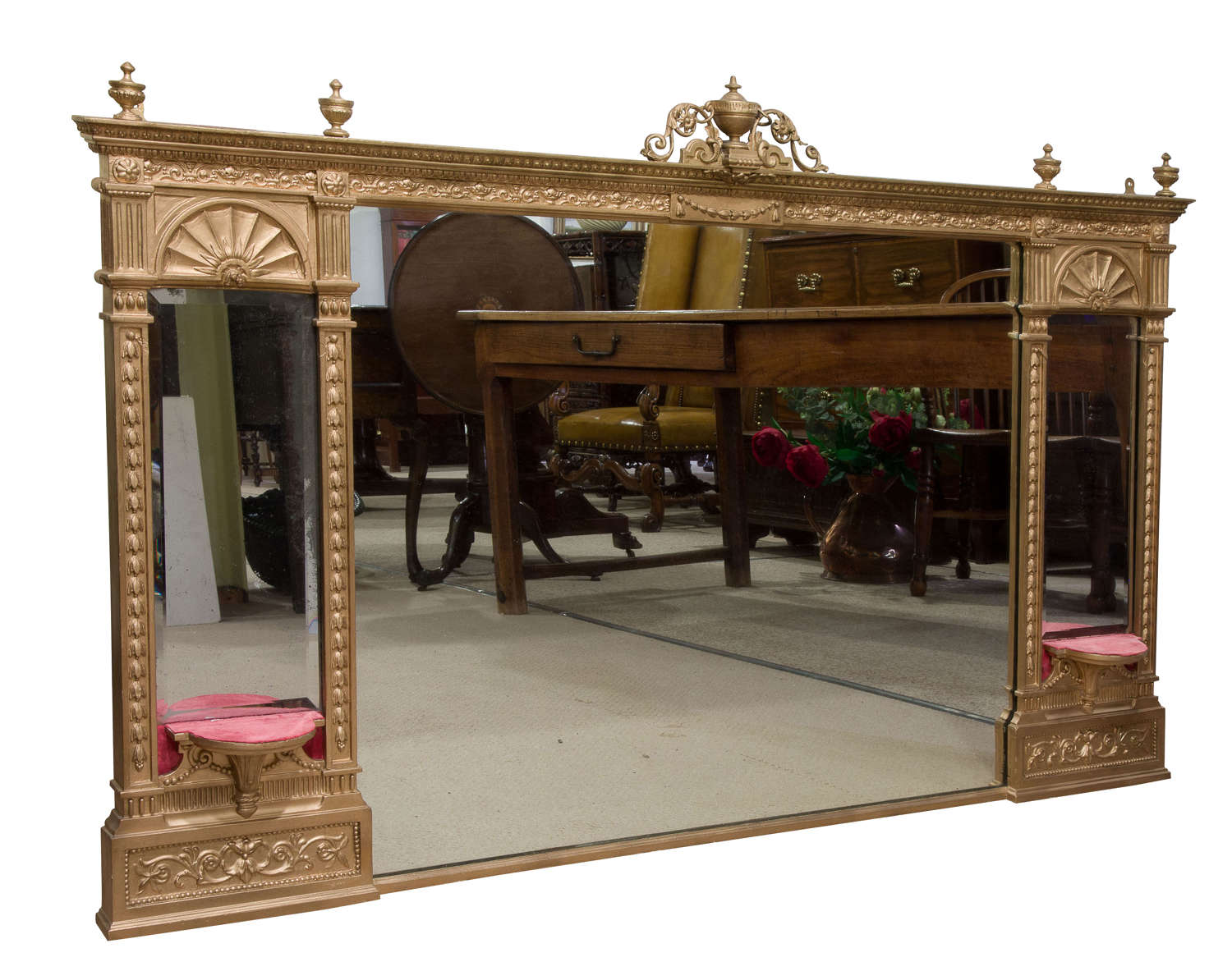A Large Giltwood & Gesso Overmantle Mirror