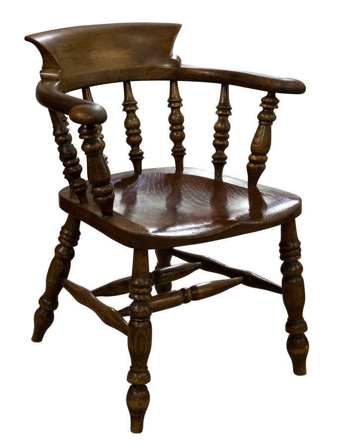 A Substantial Ash, Elm and Beech Smokers Bow/Desk Chair