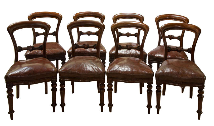 Set of 8 Good Quality Victorian Mahogany Balloon-Back Dining Chairs