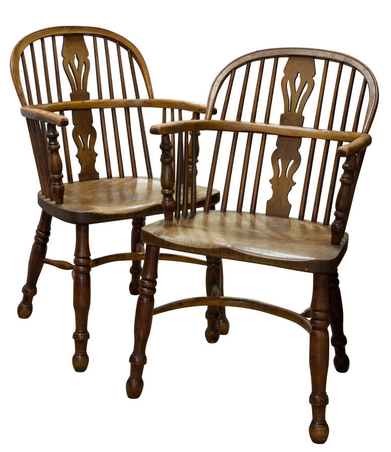 A pair of Hoop-Back Yew Wood and Elm Seated Windsor Chairs