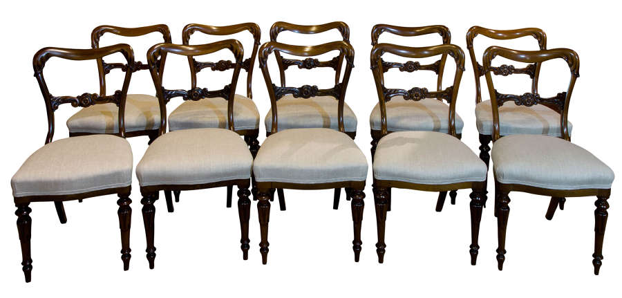 Set of 10 William IV Rosewood Dining Chairs