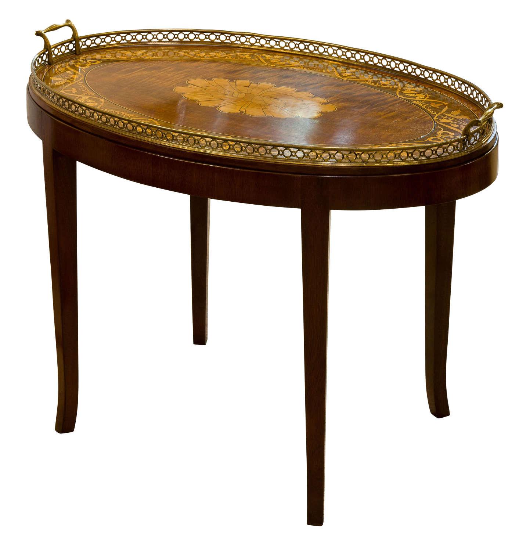 19th Century Marquetry Inlaid Mahogany Tray