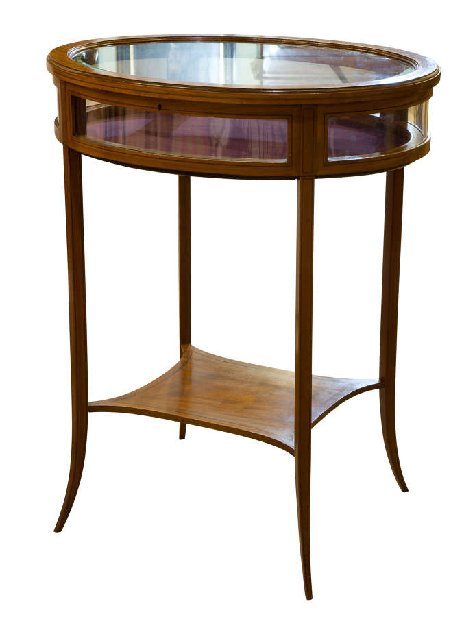 19thc Sheraton Style Satinwood Bijouterie Display Table