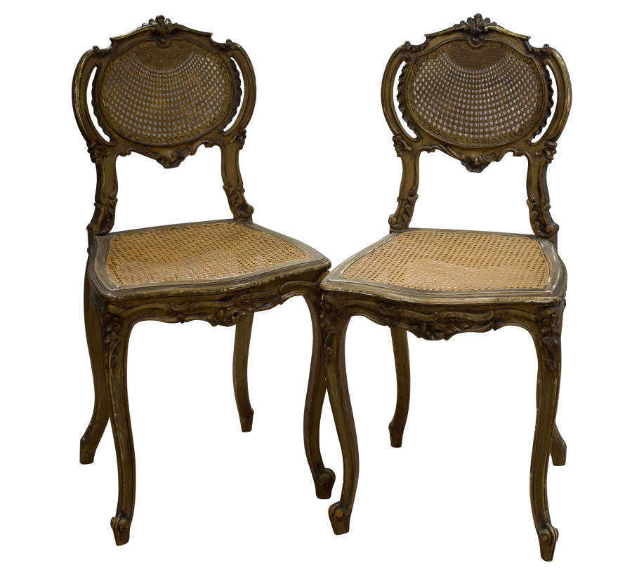 Pair of Antique Carved Giltwood & Cane Rout Chairs