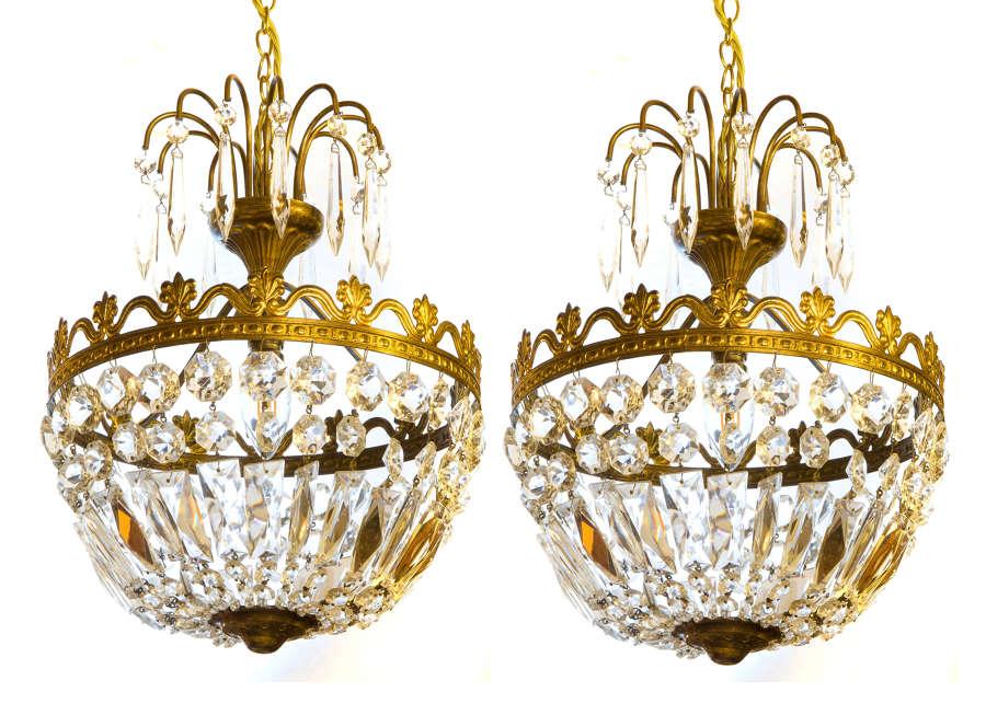 Pair of Basket Single Light Chandeliers