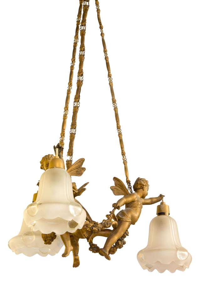 3 branch chandelier c1900