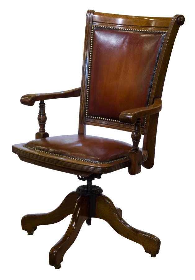 Rare 19thc mahoganypatent desk revolving chair