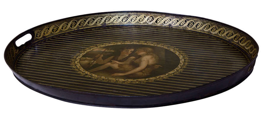 19thc Toleware Oval Tray