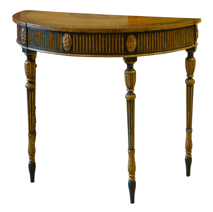 Painted George III style demi lune pier table c1880