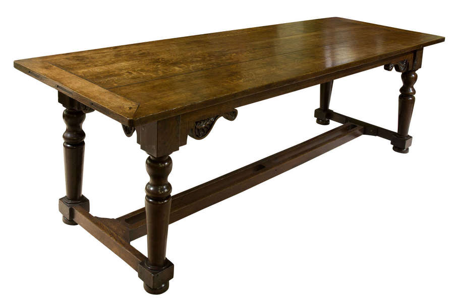 8ft -19thc English Oak Refectory Table c1850