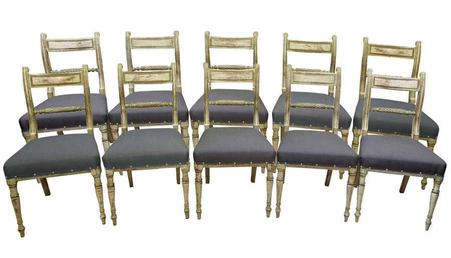 Set of 10 painted Regency style chairs