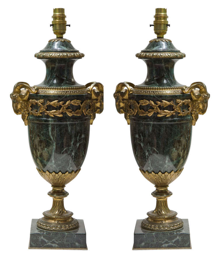 Pair of green marble gilt metal mounted table lamps 19thc