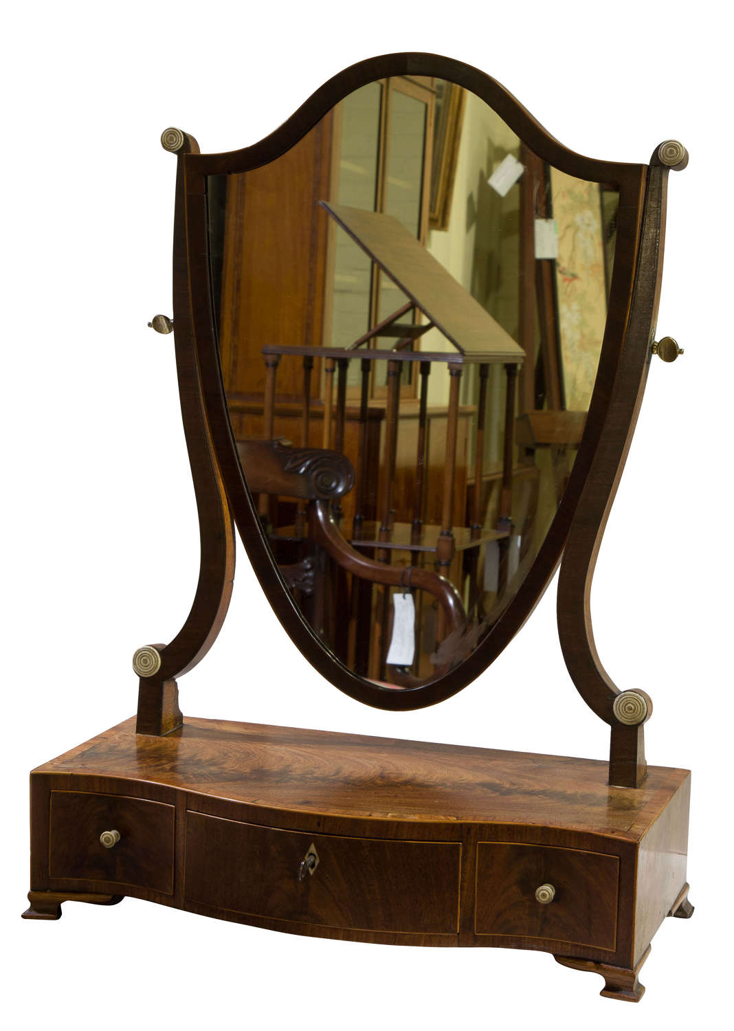 Early 19thc shield shaped dressing table mirror