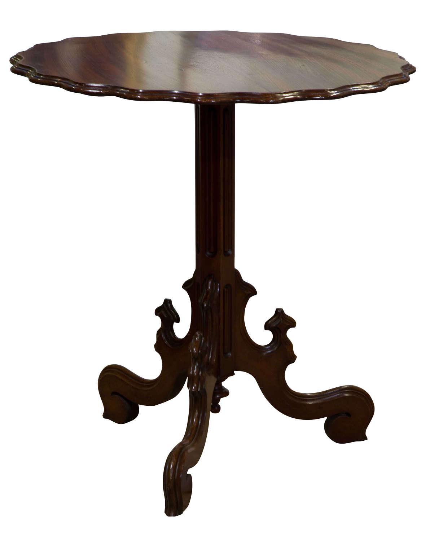 French scalloped edge mahogany tilt-top table